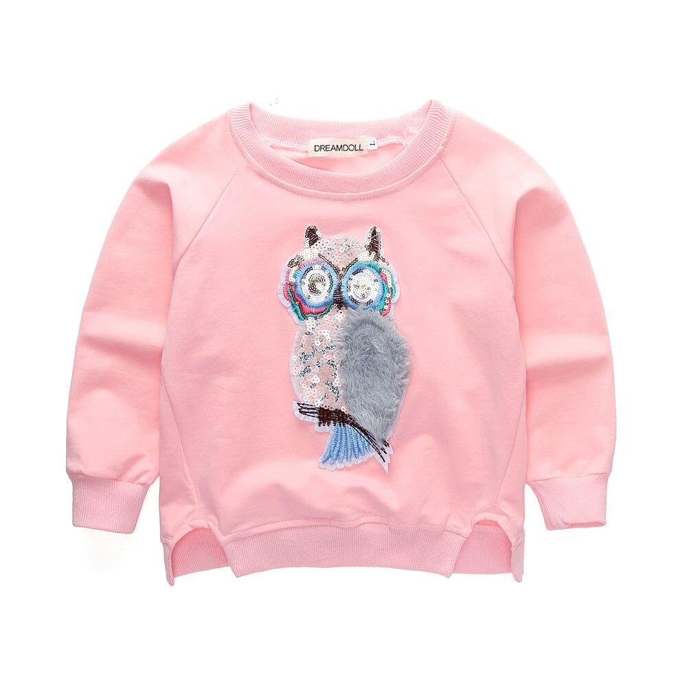 Cartoon Shirt Sequin Girls Spring Long-Sleeve Tops Kids Clothes Fashion Cotton Children's