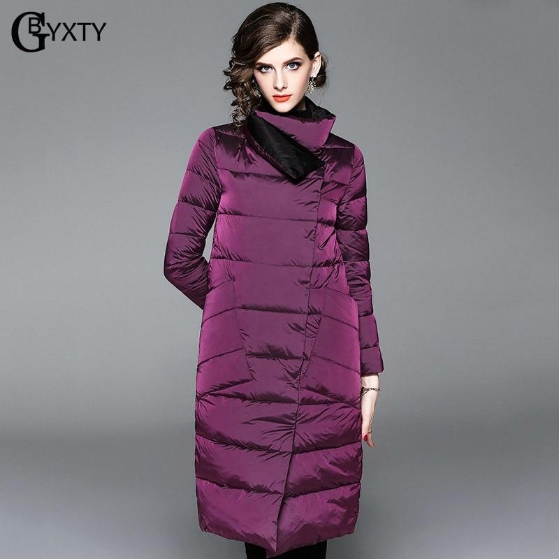 GBYXTY manteau femme hiver Double Side Wear Bright Long   Down   Jacket Winter Women Turtleneck Duck   Down     Coat   Puffer Jacket ZA1092