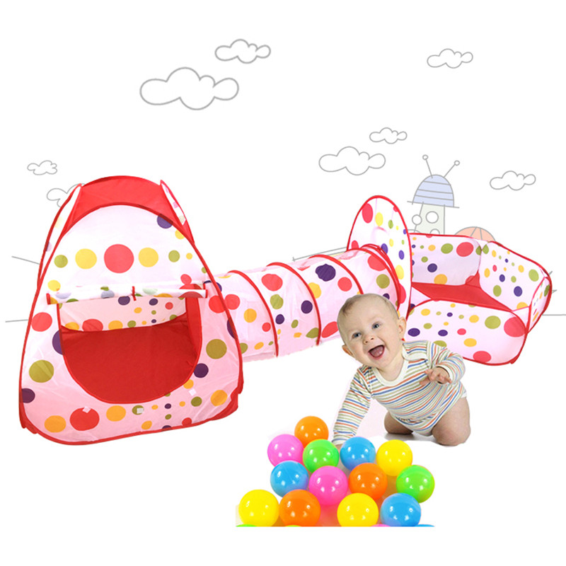 Foldable Children Tent Pool-Tube-Teepee 3pcs Pop-up Play Tent Toys Tunnel Kids Play House Ball Pool Play Tent Lodge for Children