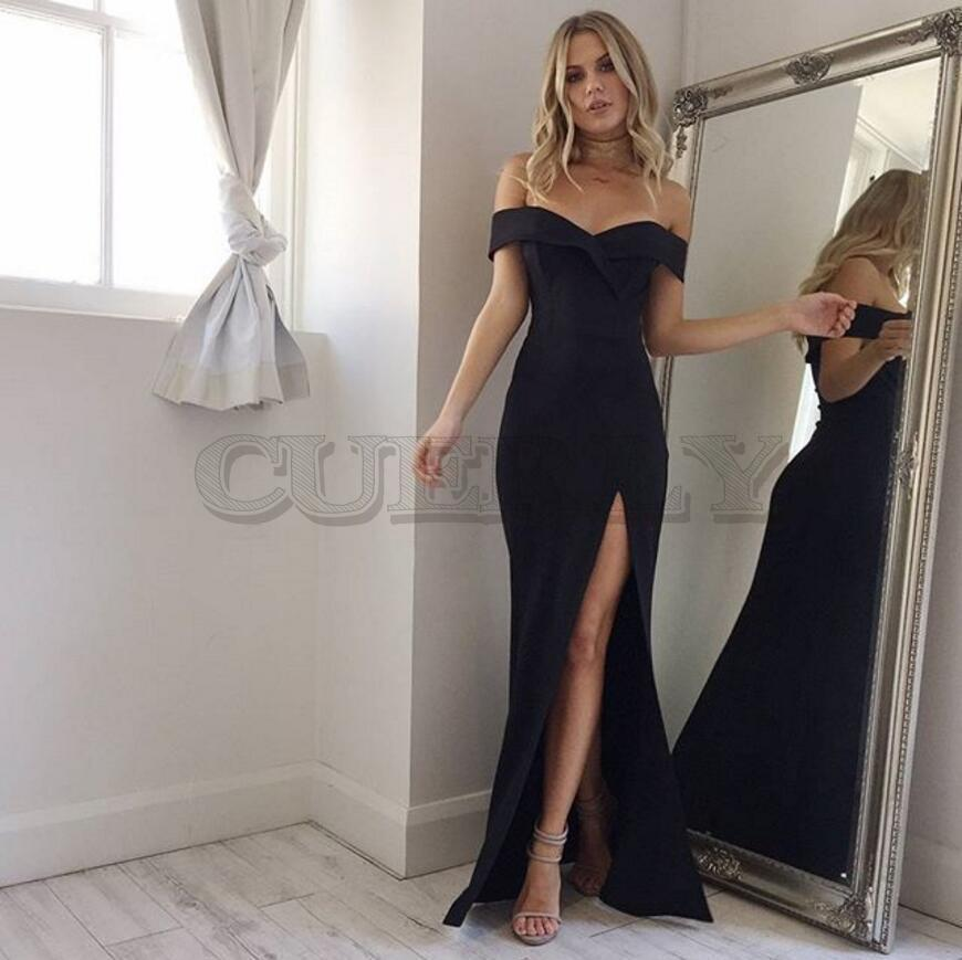 Summer New Arrival Off Shoulder Sexy Black Pink Dress 2019 Split The Fork Women Elegant CUERLY Neck long