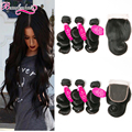 7A Unprocessed Virgin Hair Loose Wave With Closure 3 Bundles Loose Curly Malaysian Virgin Hair With Closure Human Hair Bundles