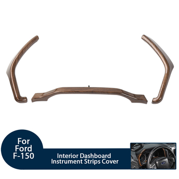 Car Styling Interior Dashboard Instrument Strips Cover Stickers for Ford F150 2015+ ABS Black Wood Grain/Wood Grain Accessories
