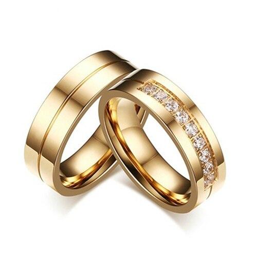 Fashion Titanium Steel Lover Rings Golden Plated Couple Rings for Men Women