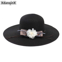 XdanqinX 2019 New Adult Womens Straw Hat Sun Oversized Visor Flower Decoration Beach Hats For Women Foldable Female Cap