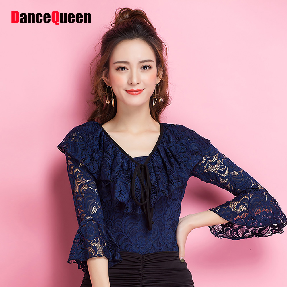 Fashion Style Latin Dance Shirts For Ladies Blue Color Nice Quality Silk Frock Beauty Woman Modern Fabric Female Play Tops Y132