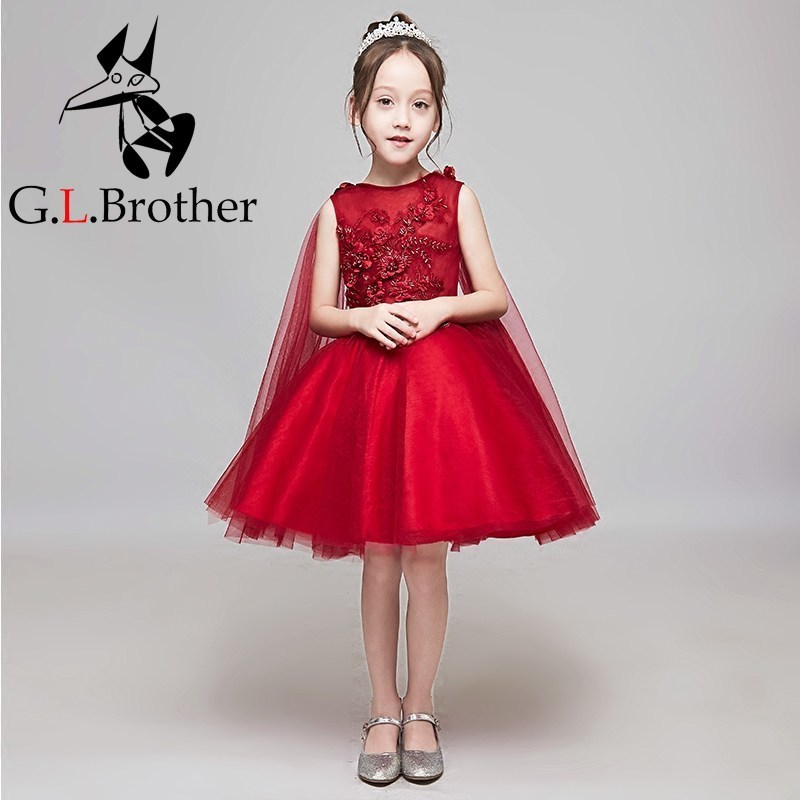 Wine Red Flower Girl Dresses With Shawl Floral Wedding Party Dress Ball Gown Appliques Kids Princess Prom Dress Birthday Gowns B floral flower printed ball gowns with belt 2016 summer o neck short sleeve princess dress for party frocks evening prom dress