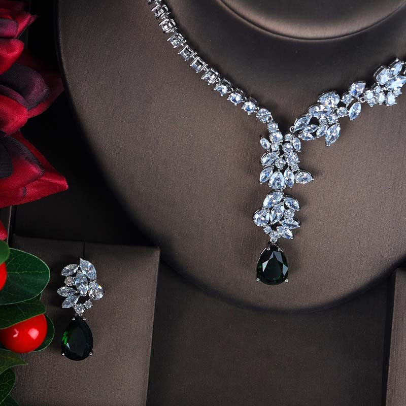 Image 2 - HIBRIDE Fashion Green CZ Jewelry Sets For Women Flower Design  Necklace Earrings Bijoux Set Party Wedding Gift Wholesale N 595Jewelry  Sets
