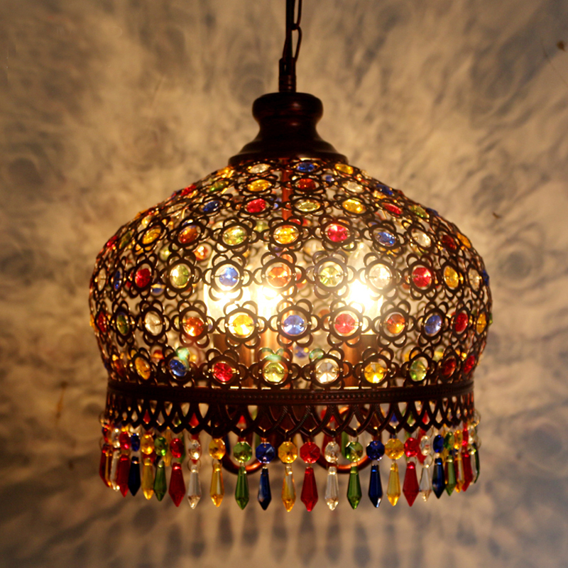 Design lampe pendentif éclairage cristal bohême rétro goutte de fer à la main pendentif lumières pour restaurants suspendus lumières chambre