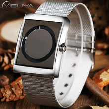 YISUYA Creative Wristwatch Men Fashion Quartz Watch Male Boy Cool Turntable Rectangle Dial Silver Stainless Steel Mesh Band Hour