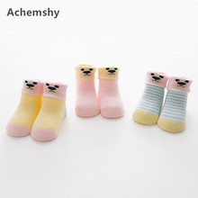ФОТО 3 pairs winter warm cotton baby socks cute multicolor boys girls newborn thick terry socks 0-3 y