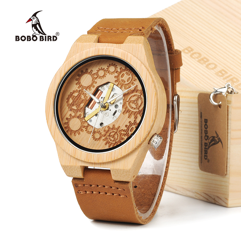 BOBO BIRD 2016 Special Bamboo Wood Watch Miyota Japanese 2035 Movement Outside With Genuine Cow Leather Band Quartz Analog Watch bobo bird high quality new bamboo wood watch case with japanese miyota movement leather strap in gift box for women