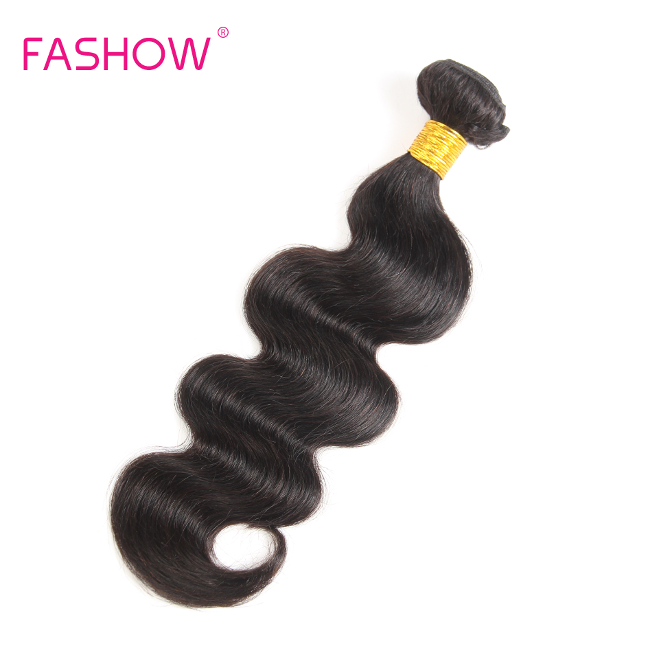 Fashow Peruvian Body Wave 100% Human Hair Weave Double Draw Weft Bundle Deals 1 Piece Only Non Remy Hair Extensions