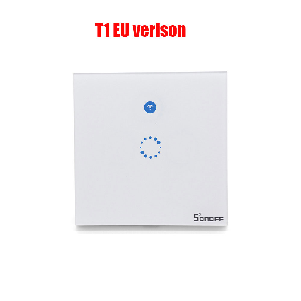 Sonoff T1 EU UK Smart Wifi Wall Touch Light Switch 1/2 Gang Touch/WiFi/433  RF/APP Remote Smart Home Controller Work with Alexa