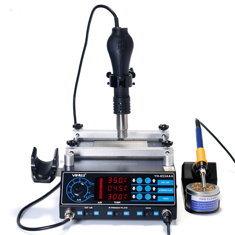 Preheating Air BGA 1 Hot Station Irons Desoldering Air YIHUA Gun Rework Soldering Hot Station 3 Station In Stand With 853AAA