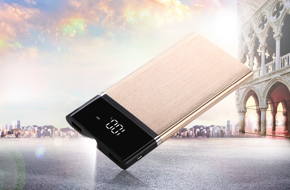 30000mAh Powerbank Super thin LCD Digital Display Micro USB Dual Inports Portable Mobile Backup Power bank for iphone7 8 X 18650