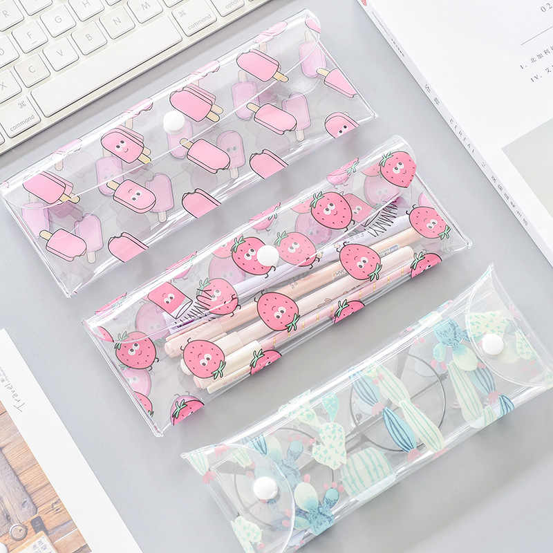 1 Pcs Kawaii Pencil Case Strawberry PVC Gift Estuches School Pencil Box Pencilcase Pencil Bag School Supplies Stationery