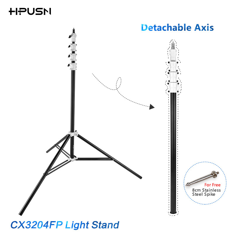HPUSN 3m Four Section Heavy Duty Triple Riser Aluminum Kit Photo Lighting Lamp Flash Stuido Light Stand Lightstand