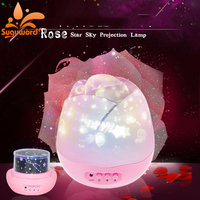 LED Night Light USB Power Supply Romantic Rose Buds Shaped Rotating Projector Lamp Children Kids Baby