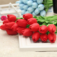 31Pcs Wedding Flower Bouquet Artificial Tulip Real Touch Silk Flowers for Home Decoration Party