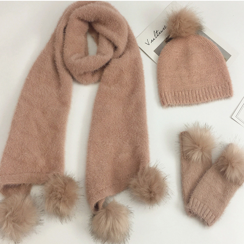 Knitted Wool Winter Hat Scarf Gloves Set Women Warm Three sets Women Men Plus velvet thickening women ball caps scarf girls in Women 39 s Scarf Sets from Apparel Accessories