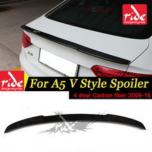 Fit For Audi A5 A5Q 4-Door Rear Spoiler Tail V Style High-quality Carbon Trunk Wing car styling Decoration 2009-16