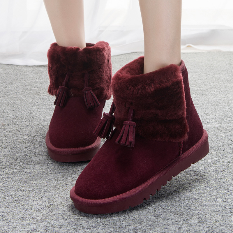 ФОТО 2016 newest Leather shoes winter snow boots  Ms. fur plus velvet thick warm winter boots with tassel sweet for lady  girls DT591