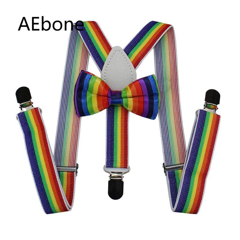 AEbone Baby Boys Suspenders Bow Tie Sets Striped Rainbow Braces For Children Girls Colorful Suspenders Tirantes Bebe 65cm Sus55