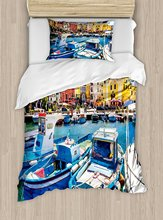 Italy Duvet Cover Set Colorful Procida Island With Fishing Boats Summertime  Tourism Vacation Travel Theme 4 Piece Bedding Set
