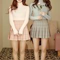 Nuevo otoño y el invierno de estilo Británico dulce cintura alta falda Plisada a cuadros Colegio rosa azul gris color de la falda de la muchacha