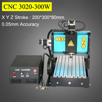 3Axis CNC Router 300W Spindle Motor 3020 Mach3 Parallel Port AC220V Engraving Machine PVC Acrylic Plastic Wood Carving
