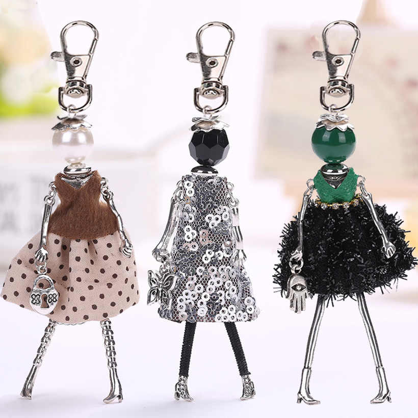 YLWHJJ brand Doll baby Handmade Cute black keychain for Women Car Pendant hot Girl Statement fashion Jewelry hot Bag key chains