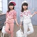 Crianças Meninas Conjunto de Roupas Floral Imprimir Manga Comprida de Algodão Casuais meninas Terno 2017 Nova Primavera Outono Top & Calças Crianças roupas