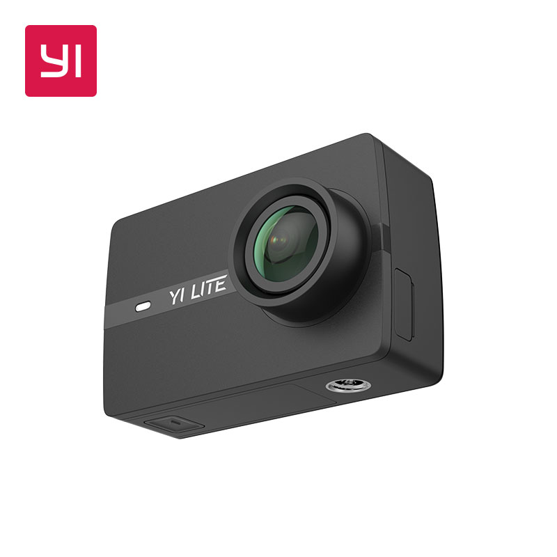 YI Lite Action Camera Black 16MP Real 4K Sports Camera with Built-in WIFI 2 Inch LCD Screen 150 Degree Wide Angle Lens