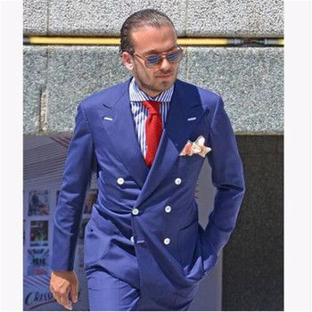 Top Selling High Quality Blazer Tailor Made Men Suits Slim Fit Terno 2pieces (Jacket+Pant+Tie) Peaked Lapel Costume Homme