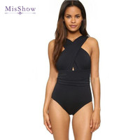 Misshow 2017 New Solid Black Red One Piece Sweimsuit Sexy Backless Women Swimswear Cross Halter Beach