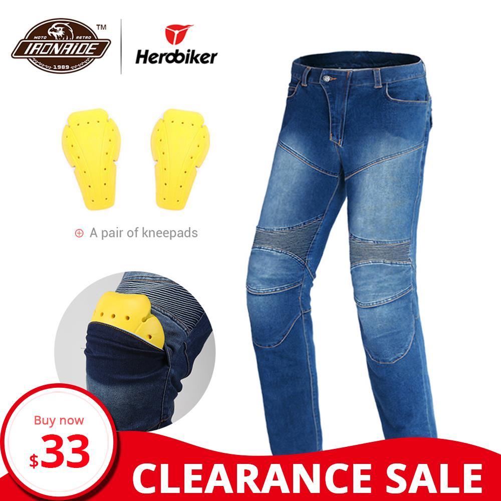 Clearance HEROBIKER Motorcycle Pants Men Motorcycle Jeans Motocross Pants Riding Racing Moto Pants Protection Motorbike Jeans