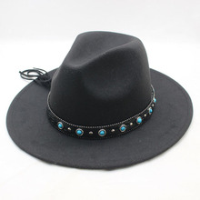 SUOGRY Solid Color Trend Men Women Wool Felt Panama Hat Fedora CAPS Leather Band Blue pearl Pattern Hats