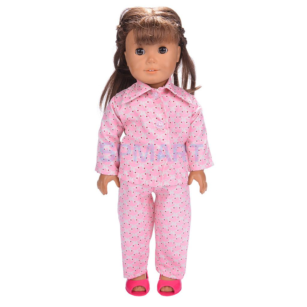 Doll-Pajamas-Nightgown-Sleepwear-Clothes-Outfit-Top-Pants-Set-for-18-inch-American-Girl-Doll-4