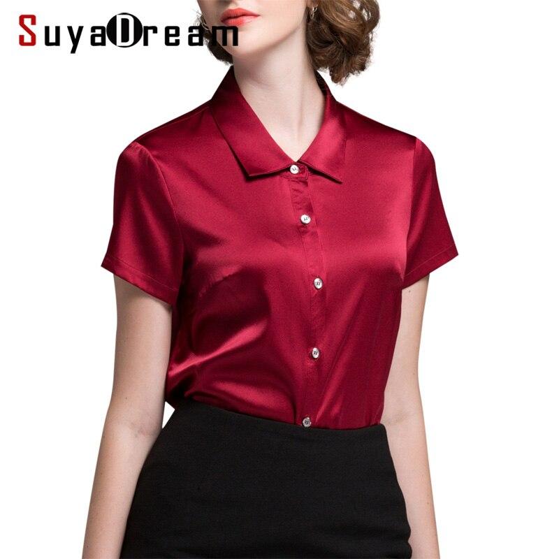 Women SILK SHIRT 94 Natural silk 6 Spandex Button Short sleeved OFFICE LADY Shirt 2018 Fall