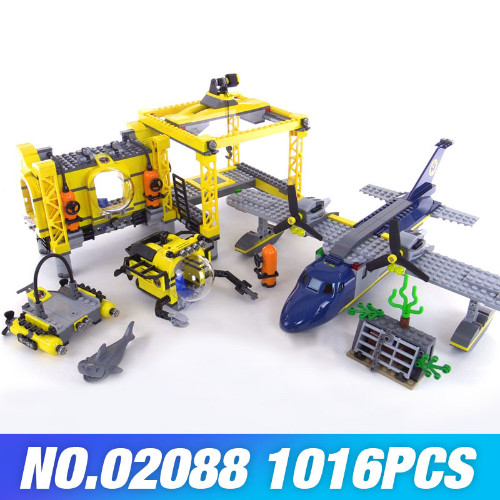 New Lepin 02088 The Deep Sea Opearation Base Set 60096 Genuine City Series Building Blocks DIY Brick For Kids New Year boys Gift model building blocks toys 02088 deep sea opearation base compatible with lego city series 60096 educational diy toys