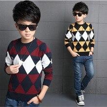 Корейский Весна мальчик свитер ромб хлопок джокер моды дети с длинным рукавом трикотаж случайные тепло комфорт подросток топы
