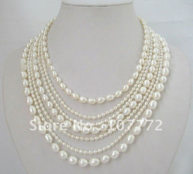 "Beautiful ! 21""  7 strands natural white pearl necklace"