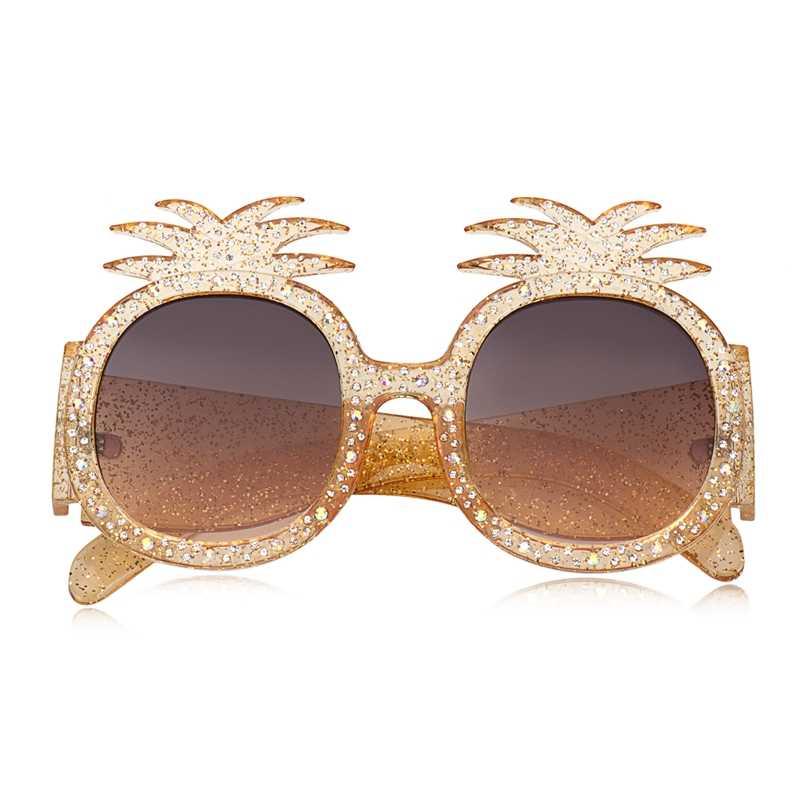 WOWSUN Marca Designer de Moda Óculos De Sol Das Mulheres do Sexo Feminino Gradiente UV400 óculos de Sol óculos de Armação Redonda Óculos Oversized Abacaxi A336