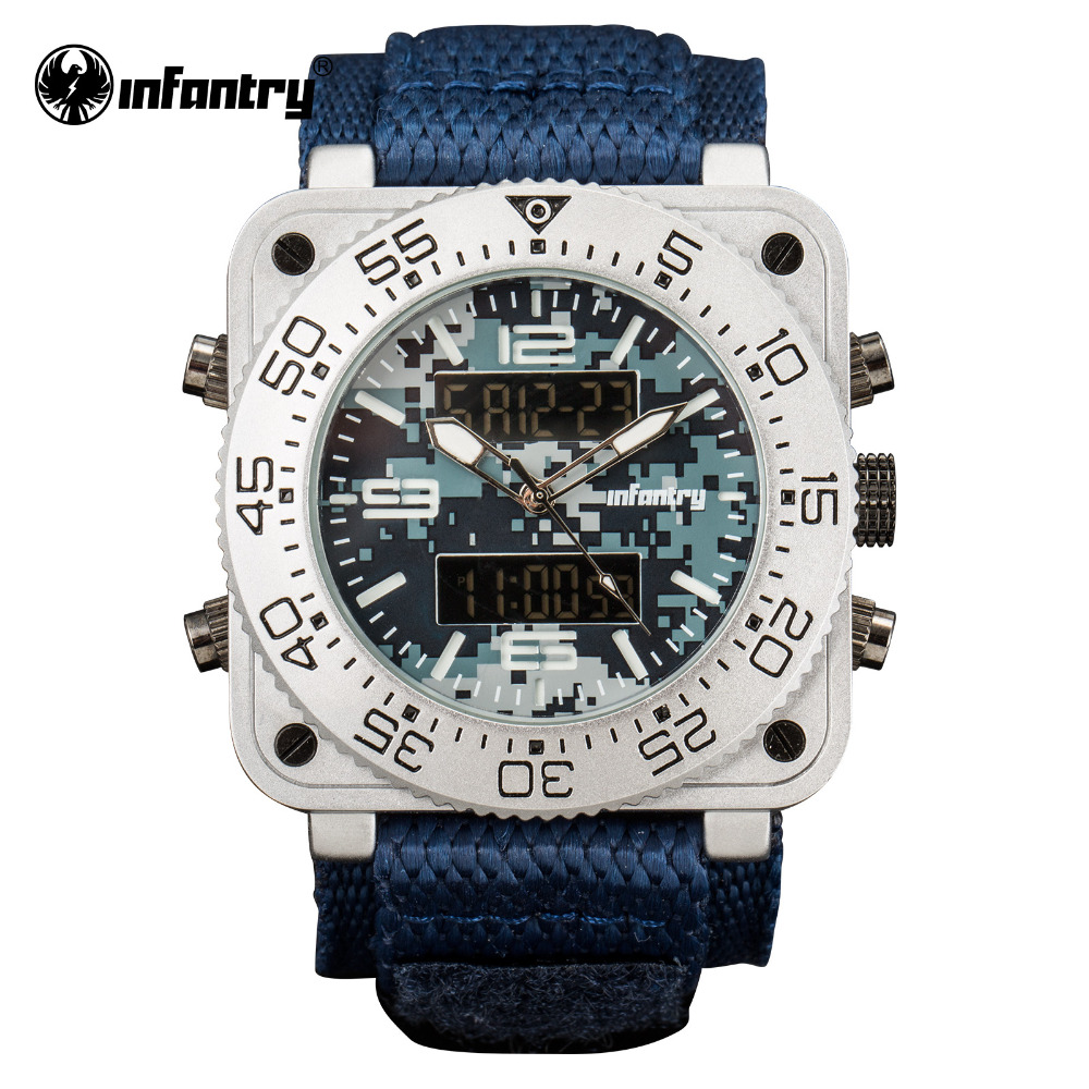 INFANTRY Sport Watch Men LED Digital Quartz Wristwatch Mens Watches Top Brand Military Square Tactical Blue Relogio Masculino