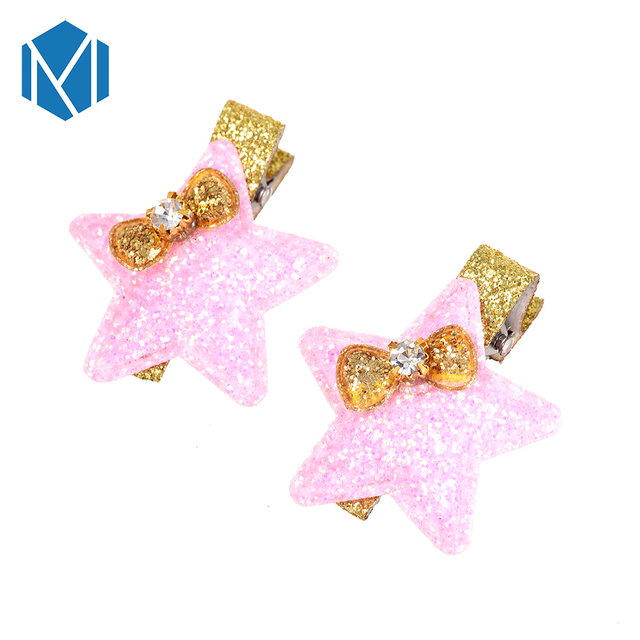 0c42bcea4493 M MISM Girls Shiny Star Hairpins Hair Clips Rhinestone Hair Accessories Bow  Tie Headwear Children Cute Hairgrip Clamps