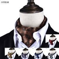 Men Vintage Polka Dot Wedding Formal Cravat Ascot Scrunch Self British Style Gentleman Polyester Scarves Neck