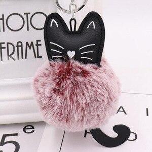Image 4 - 10 개/몫 여자 패션 쥬얼리 Keychains 솜털 고양이 귀여운 펜 던 트 키 링 여성 가방 자동차 장식