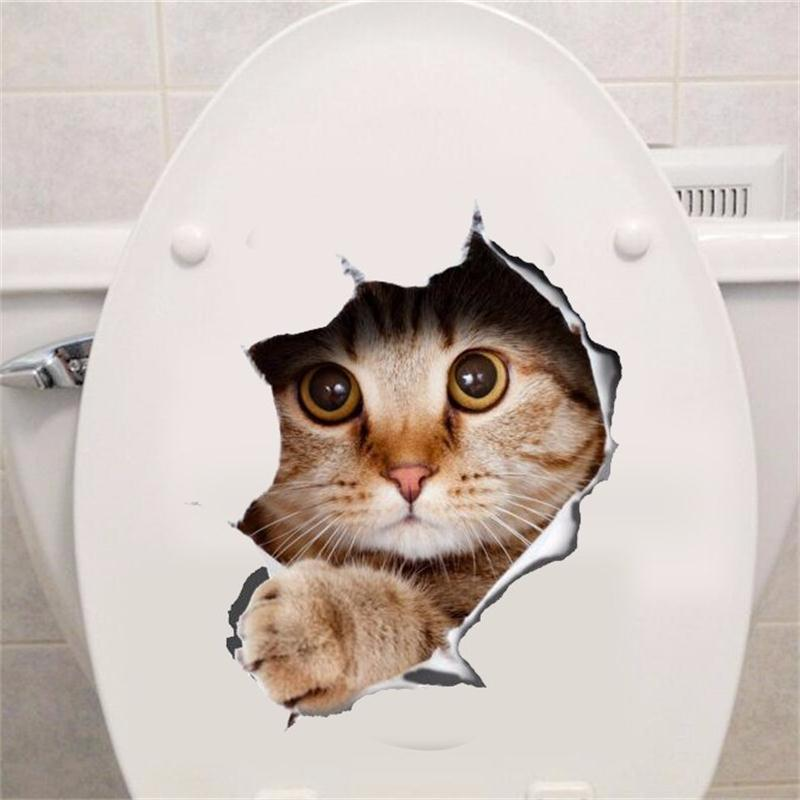 Hole View Vivid Cats Dog 3D Wall Sticker Bathroom Toilet Living Room Kitche..