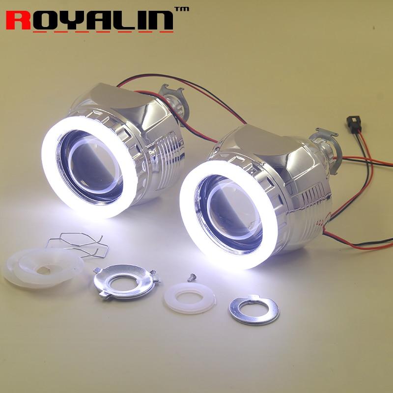 ROYALIN Auto phares lentille avec LED blanc ange yeux H1 Bi xénon projecteur pour H4 H7 voiture moto lampe accessoires rénovation