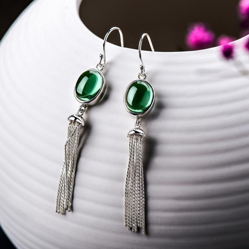 Real 925 Sterling Silver Earrings Natural Stone Green Crystal Long Tassel Earrings For Women Wholesale Lots Bulk Jewelry